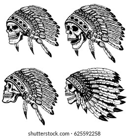 Set of the skulls in native american headdress. Design elements for poster, t-shirt. Vector illustration