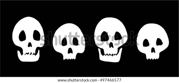 set of skulls on black background