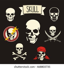 Set of skulls and pirates symbols isolated on black background: Jolly Roger, cross bones and swords.