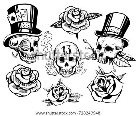 Old school tattoo style. Hand drawn illustration