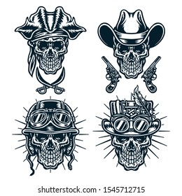 Set of skulls wearing hats, cowboys, steampunk, helmets and pirates, Isolated on white background.