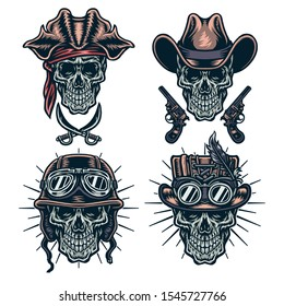 Set of skulls wearing hats, cowboys, steampunk, helmets and pirates, color version