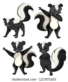 A set of skunk illustration