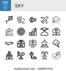 Set of sky icons such as Scraper, Kite, Airplane, Rocket, Plane, Storm, Rainbow, Atmosphere, Forecast, Mist, Cloud, Observatory, Whack a mole, Fountain, Sending , sky