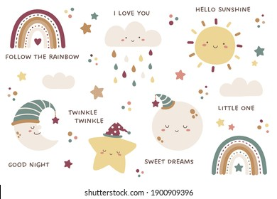 Set of sky and weather themed cute characters and design elements. Sun, clouds, rainbows, raindrops, moon, crescent, and stars. Kawaii characters of sun, cloud, moon, and star.