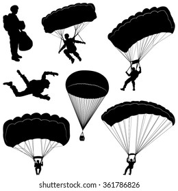 Set of Skydivers, Parachuting Silhouettes. Vector Image