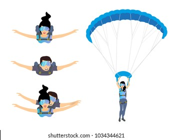 Set of skydivers parachutist characters. Skydiver man and woman flying. Tandem skydiving. Vector illustration isolated on white background