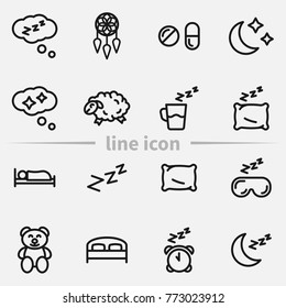Set of sleep outline vector icons.