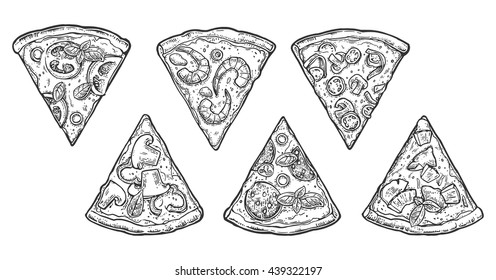 Set slice pizza Pepperoni, Hawaiian, Margherita, Mexican, Seafood, Capricciosa. Vintage vector engraving illustration for poster, menu, box. Isolated on white background
