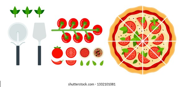 Set of sliced ​​​Margarita pizza, hot chili pepper, tomato sauce, cherry tomatoes, basil leaves with a knife and pizza spatula in a row flat single icon vector isolated on white