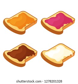 Set of slices of fried bread, toast with honey, jam, chocolate and butter. Vector illustration
