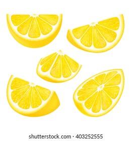 Set slices of lemon isolated on white background. Realistic vector illustration.