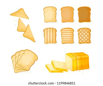 Set of slices toast bread icons. Vector illustration isolated on a white background. Bakery product in cartoon style. Baguette, loaf, white bread