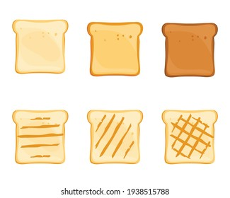Set of slices toast bread isolated on white background. Vector
