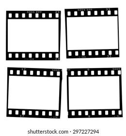 Set of slide frames with details, 35 mm. Vector illustration