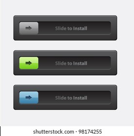 Set of slide lock buttons (log-in , security connection, status)