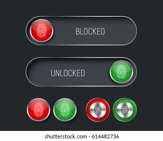 set of sliders, switches and buttons red and green. Templates for the black interface, site or application with a fingerprint for locking and unlocking. Vector illustration
