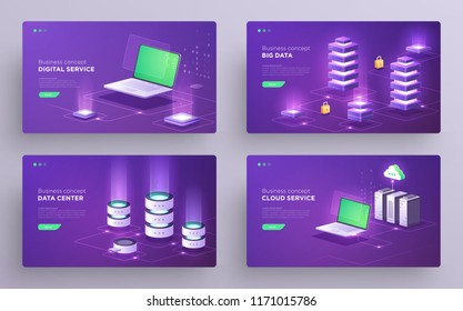 Set of slides, hero pages or digital technology banners. Data guarding, web hosting, server room, cloud backup, network topology. Isometric ultraviolet vector illustrations