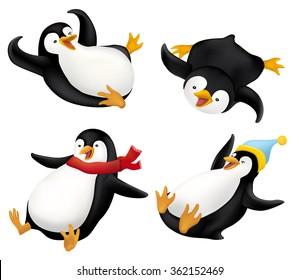 Set of Sliding penguins illustration