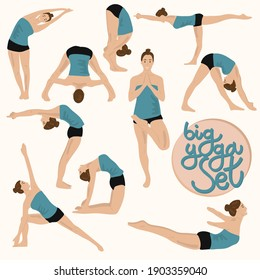 Set of slim sportive young woman doing fitness exercises and yoga. Collection of  10 vector female cartoon characters demonstrating various yoga positions. Healthy lifestyle.