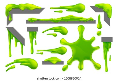 Set of slime or mucus liquid green goo blobs, splats, drips and drops design elements