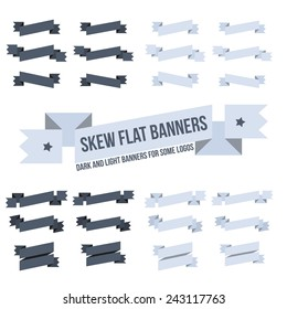 Set sloping banners of various designs for emblems and logos. Flat vintage ribbons.