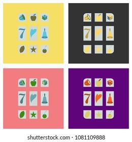 Set of Slot machine icon isolated on background. Flat illustration.