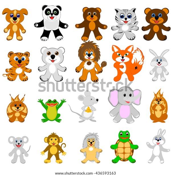 Set Small Animals Stock Vector (Royalty Free) 436593163