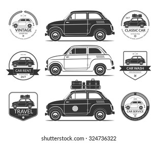 Set of small classic car silhouettes in vintage style. Car wash, rent, travel, service labels, icons, logos, design elements isolated on white background. Vector illustration