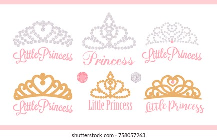 A set of small diadems. Vector design element for royal party ( baby, bridal shower; wedding: birthday) Princess gold crown with gem. Golden silhouettes for laser cutting. Stickers of diamonds. Gems