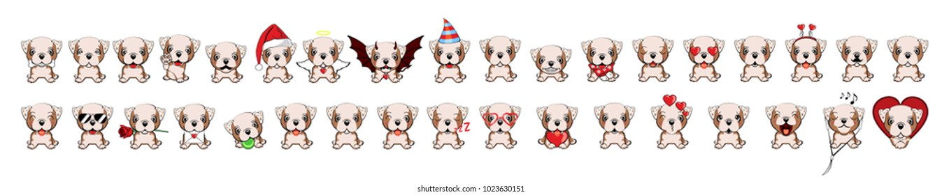 set of small dogs from puppies with different emotions. set of dogs with hearts. different types. dogs with hearts to the Valentine's Day. Bulldog - vector illustration. English bulldog
