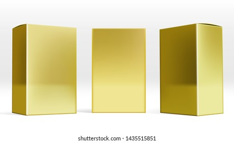 Set Of Small Gold Cardboard Boxes With Shadows. EPS10 Vector