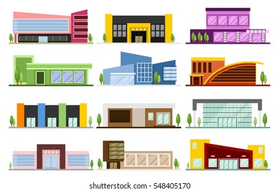 A set of small and medium-sized colorful buildings of shops and shopping centers