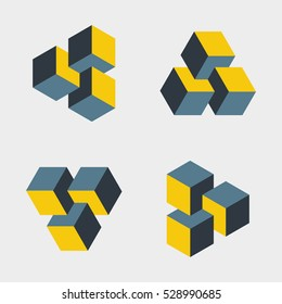 Set of small penrose triangles constructed of three blocks. Isometric 3d design. Mathematical object with mental trick. Optical illusion of brain. Symbol with three-dimensional effect. Imp art.
