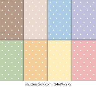 Set of small polka dot seamless pattern. Pastel red, yellow, blue, orange, green, purple and brown color design with white dots. Vector art image illustration background wallpaper collection