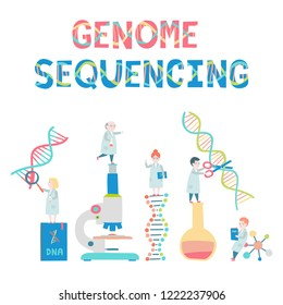 Set of small scientists. Genome sequensing concept. Molecule helix of dna, genome or gene evolution.