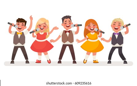 Set of small singers. Children's music group. Boys and girls sing a song. Vector illustration in a cartoon style