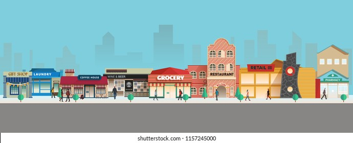 A set of small town buildings, view of some small businesses in an old little town, they are bakery, motel, bank, salon, boutique, and coffee house.