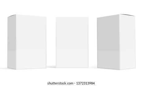 Set Of Small White Cardboard Boxes With Shadows. EPS10 Vector
