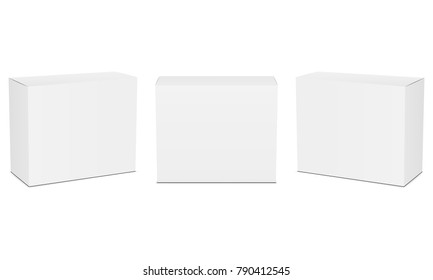 Set of small white cardboard boxes mockups. Vector illustration