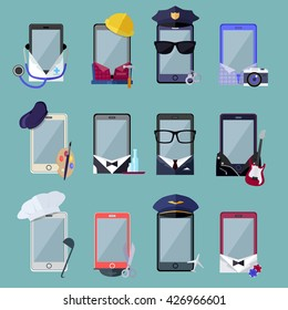 Set of smarphones in costume different professions