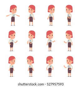 Set of Smart and Cute Character Consultant Girl  making Presentation for using in Design, etc.