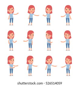 Set of Smart and Cute Character Family Girl making Presentation for using in Design, etc.