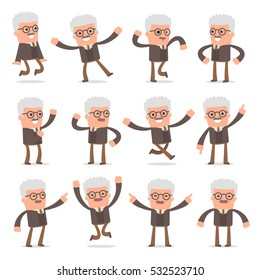 Set of Smart and Cute Character Professor making Presentation for using in Design, etc.
