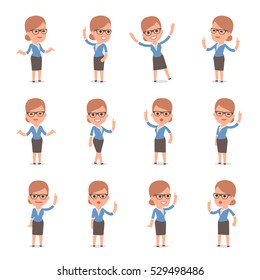Set of Smart and Cute Character Teacher Girl  making Presentation for using in Design, etc.