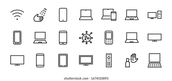 set of smart devices and gadgets, computer hardware and electronics. Electronic device icons for web and mobile vector lines. Editable stroke. 480x480 pixels.