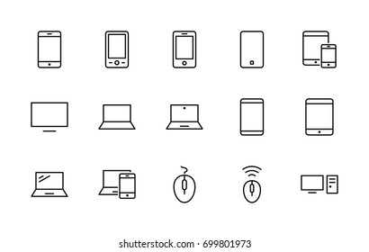 Set of smart devices and gadgets, computer equipment and electro