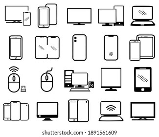 Set of smart devices icons vector. gadgets illustration sign collection. computer equipment and electronics symbols. in white backgound