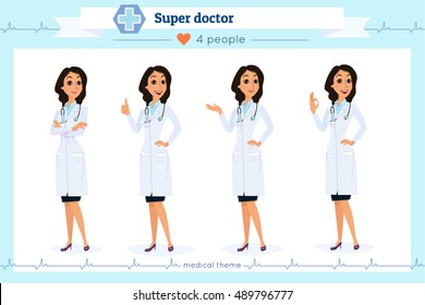 Set of smart doctor presenting in various action, isolated on white.Flat cartoon style.Hospital medical team.People character set in various poses.woman, female,she.Nurses,medico,doc,physician,medic