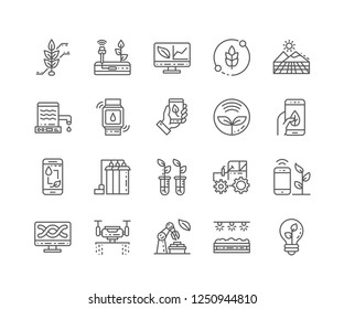 Set of Smart Farm outline icons isolated on white background. Editable Stroke. 64x64 Pixel Perfect.